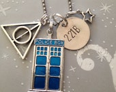 The Ultimate Fandom Necklace / Keychain - Doctor Who Inspired, Harry Potter Inspired, 221B, Multi Fandom Necklace, Pentagram, Gift