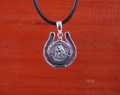"""St. Christopher in Horseshoe Pendant with  16"""" to 19"""" adjustable BlackCord Unique"""