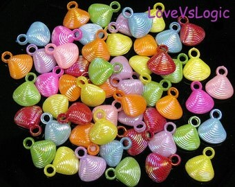 40 Shell Plastic Charms. AB Mix Colors