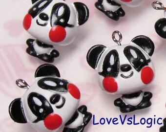 4 Baby Panda Plastic Charms. Cute.