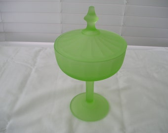 Vintage Green Frosted Glass Covered Candy Dish