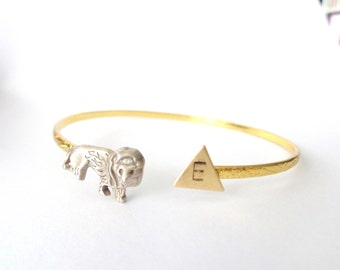 Lion cuff personalized bracelet with a triangle wrap style, animal bracelet, charm bracelet, bangle