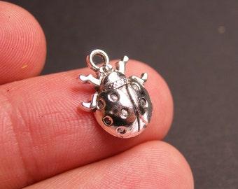 12 ladybug charms -  12 pcs - ladybug silver tone charms - ASA51