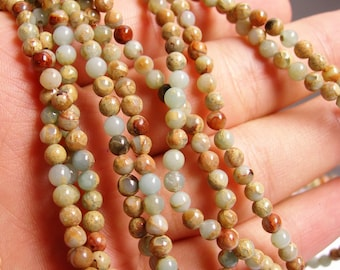 Impression Jasper -  4 mm round beads -1 full strand - 96 beads - A quality - RFG251