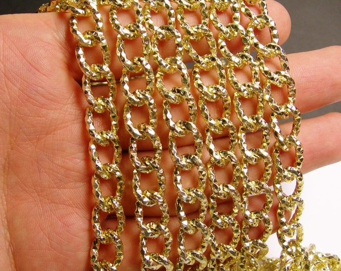 Gold chain - lead free nickel free won't tarnish - 1 meter - 3.3 feet - aluminum chain - etching -  NTAC65