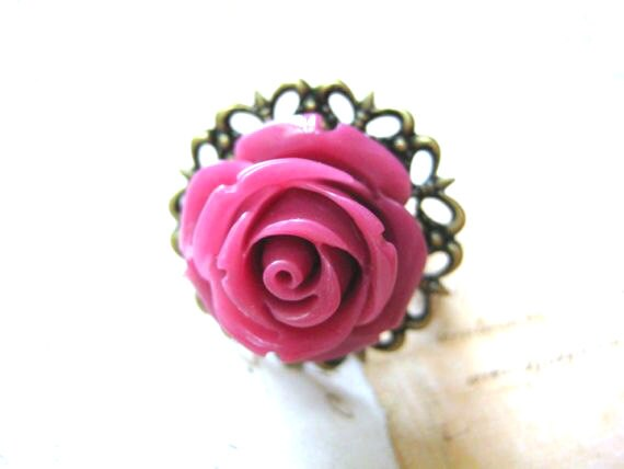 Rose Ring - Plum Rose Adjustable Filigree Ring