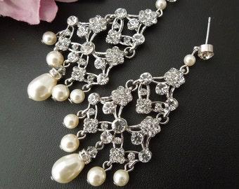 Pearl Earrings,Pearl Rhinestone Bridal Earrings,Ivory Swarovski Pearls,Rhinestone Chandelier Statement Bridal Earrings,Teardrop Pearl,EVIE