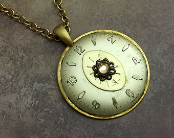 Steampunk Clock Watch Face Necklace in Satin Gold