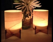 Real Wood Tealight Lanterns with Bamboo Base & Maple Veneer Shade - Set of 2 - Ambient Modern Candle Holder Accent Lighting