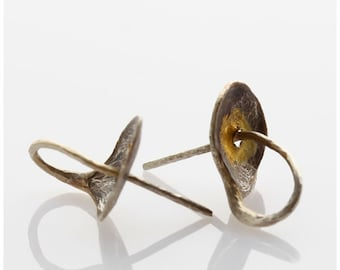 Pure silver & gold STUD EARRINGS, hand forged and shaped