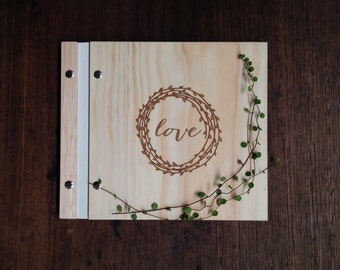 Ready to Ship Wedding Guest Book Wood Engagement Present Birthday Anniversary // love wreath