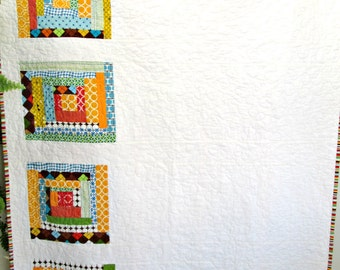 SALE Baby Boy Quilt, Retro Modern Log Cabin Baby Quilt by Dreamy Vintage Sheets