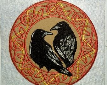 Celtic Ravens Iron on Patch