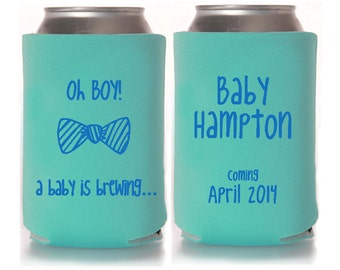 personalized baby shower koozie fav ors gender reveal party gifts