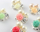 Set of 3-Vintage Rose Pearl Buttons- Approximately 26mm