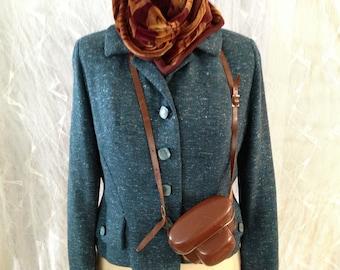 60s Tailored Tweed Jacket in  Teal Blue