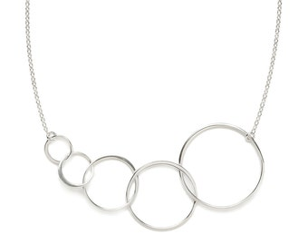 Link Circle Necklace, Sterling Silver Linked Circle Necklace, Circle Jewelry, Simple Circle Necklace, Eco Friendly Silver Necklace