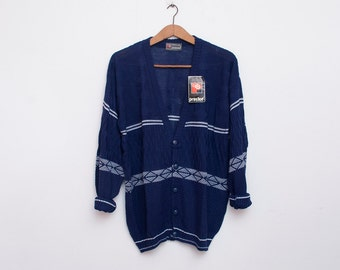oversized Cardigan sweater 80s NOS vintage navy blue white