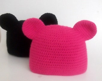 Mickey Mouse Hat-Crochet Baby  Hat - for Baby or Toddler-Baby Girl or boy Hat-Your choice of color