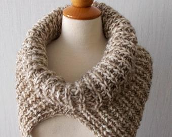 Chunky Cowl Shoulder Warmer in Light Brown Beige Alpaca Wool