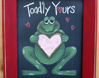 Tole Painting Pattern, Toad'ly Yours, Valentines Day, DIY, Instructional Pattern, Toad or Frog, Black Screen, Sugar Cookie