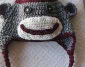 Sock Monkey hat.... many sizes ..low shipping cost