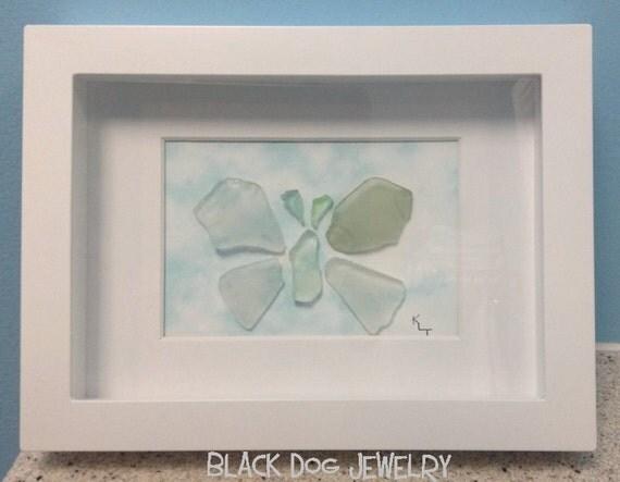 Wall Art Glass Butterflies : Sea glass butterfly framed art