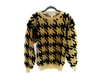 Vintage 80's Cropped Cosby Sweater with Modern Design Art-Deco Houndstooth Pattern by Zeppelin Men's Large