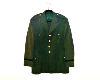 Authentic Vintage Army Blazer with Embellished Gold Buttons and Epaulettes Men's Large