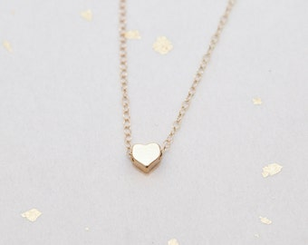Gold Tiny Heart Charm Necklace, Tiny Heart Necklace, Small Heart - Also Available in Silver, Simple Delicate Necklace, Minimalist Jewelry