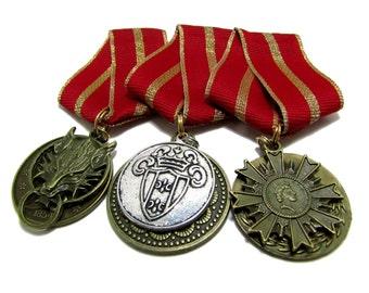 Steampunk Cosplay Medal // Custom SINGLE CHARM Medallion // Red Metallic Gold Ribbon