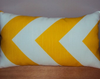 Large Scale Yellow Chevron Zig Zag Decorative Lumbar Pillow Cover - 3 Sizes Available