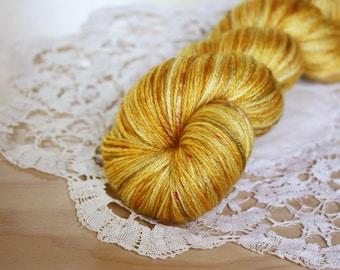 Hand Dyed Yarn / Fingering Weight / Gold Golden Amber Mustard Silk Merino Wool
