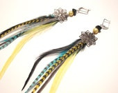 Turquoise and Bright Yellow Feather Earrings with snowflake charms, natural stones, false pearls  and grizzly feathers