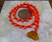 BEST Little Girl Necklace Suitable for Toddler and up Red and Orange Clashing Bright Happy Yellow Lucite Flower Durable Age Appropriate