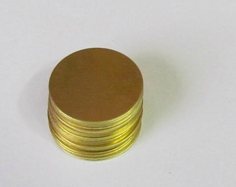 7/8 -Brass circles -18G - Brass round blanks -  hand stamping blanks -metal blanks - jewelry supplies