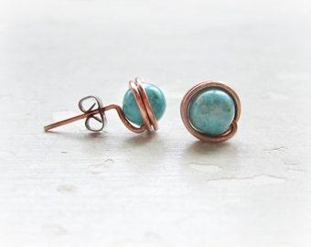 Copper Turquoise Stud Earrings, Southwestern Earrings, Wire Wrap Stud Earrings, Turquoise Jewelry, Copper Post Earrings, Turquoise Posts