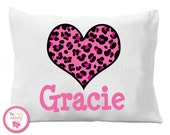 Hot Pink Cheetah Heart Pillow Case , Personalized Pillow Case