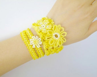 Crochet Lace Jewelry (Boho Chi I-e) Fiber Jewelry, Crochet Bracelet, Wide Bracelet