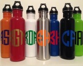 Monogram personalized stainless steel water bottle polka dots Kids sports initials personalized