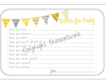 PRINTABLE Wishes for Baby Cards - Unique Baby Shower Activity Game or Memory Book Idea - Yellow and Gray
