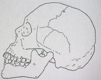 Hand Embroidered Skull Side View