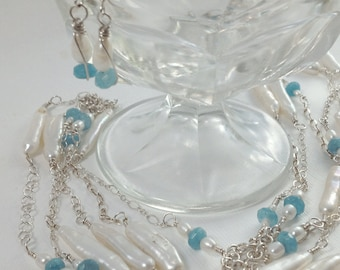 Triple Stranded Sterling Silver Chain, White Freshwater Pearls, & Blue Apatite Necklace Set