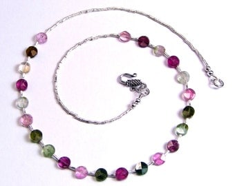 Tourmaline & Sterling Silver Necklace - N343
