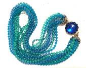 BLUE Green TORSADE Plastic Crystal translucent Necklace Multi Strands Beaded Ornate Authentic Vintage Jewelry artedellamoda talkingfashion