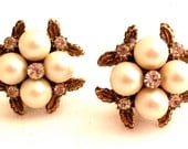 PEARLS Faux Diamond Rhinestones Etched Golden Floral Clip on Earrings Three Dimensional Authentic Vintage Jewelry Old and Beautiful