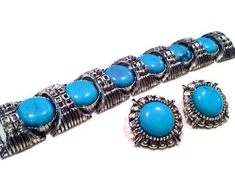 Turquoise Blue Cabochon Demi Parure Set Chunky Wide Link Panel Bracelet Clip Earrings Vintage Jewelry artedellamoda Art Deco talkingfashion