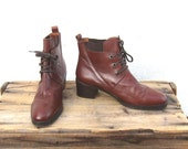 Vintage Cognac Leather Heeled Laced Boots Ladies size 38 (US 89)
