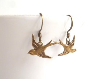 Simple Bird Earrings - sweet antique brass / bronze finish flying sparrows matching dark oxidized hooks - Coming Together / Parting Ways