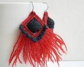 Orange Crochet Earrings - Dark Grey Crochet Earrings - Unique Fiber Creation - Fringes Earrings - Geometric Earrings - Fiber art creation